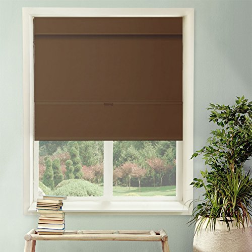 Chicology Cordless Magnetic Roman Shade Room Darkening Fabric Thermal Mountain Chocolate 33x64 by CHICOLOGY
