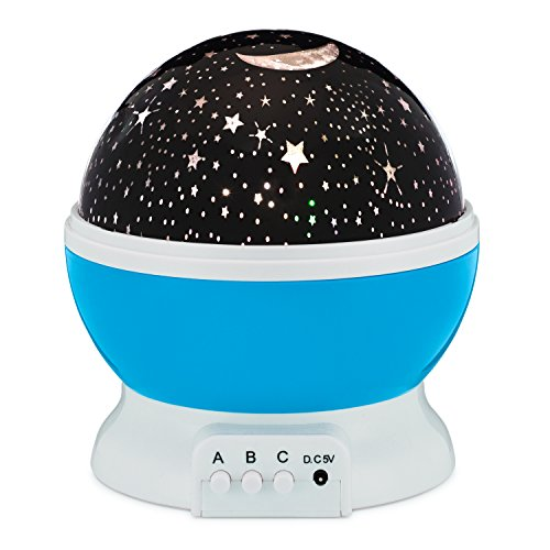 Star Night Light Rotating Indoor Projector Lamp Galaxy Moon Space Twilight Ceiling Lighting for Baby Kids Childrens Room 4 LED Starry Rainbow Cosmos Colors Romantic Mood Sky Best 1 Nursery Gift