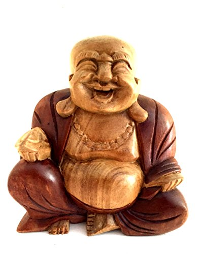 Buddha Statue Solid Wood Carved Happy Buddha Sculpture Laughing Buddha - OMA FEDERAL TM BRAND