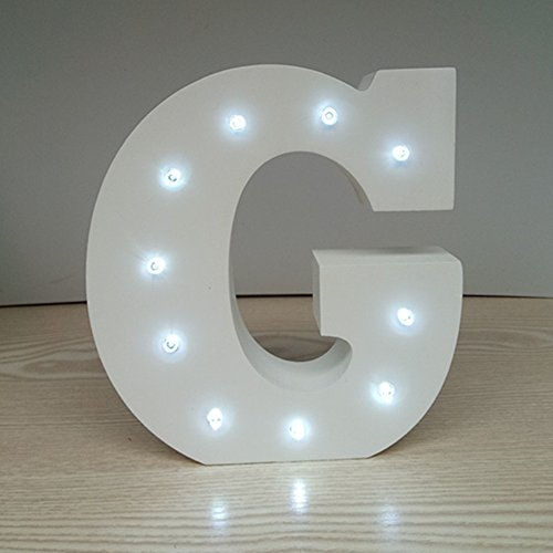 ARTSTORE Decorative DIY LED Letter Lights SignLight Up Wooden Alphabet Letter Battery Operated Party Wedding Marquee DécorCold White G