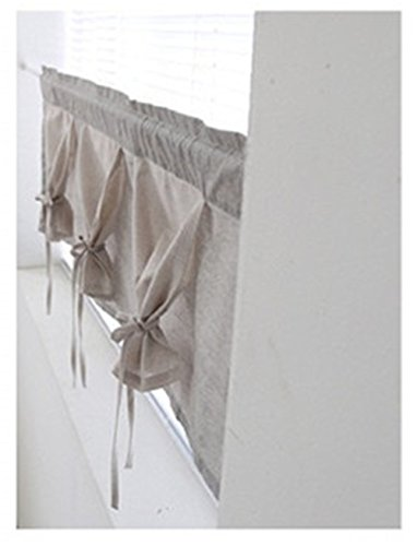 Katoot Handmade Natural Cotton Cafe Curtain Kitchen Curtain Valances European Rural Fashion Window Curtain for Home One Piece Cotton 100- 39wx108lcm-Small Check Grey color
