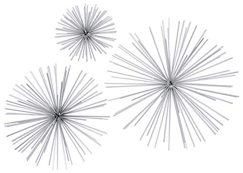 Ten Waterloo Metal Wall Sculptures Set of 3 Silver Finish Star Burst Metal Wall Hangings - 12 9 and 6 Inches Silver