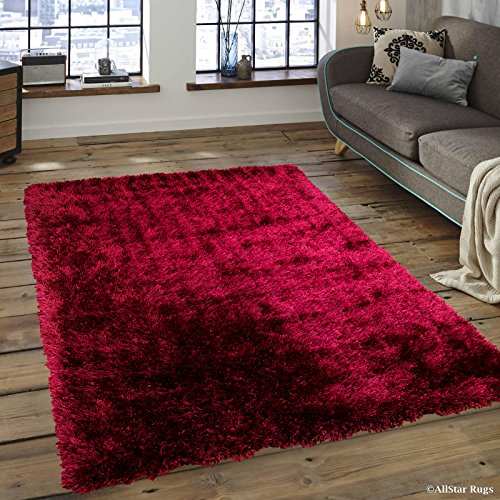 Allstar 5 X 7 Burgundy Chic Thick Soft And Shaggy Solid Area Rug 4 11 X 7