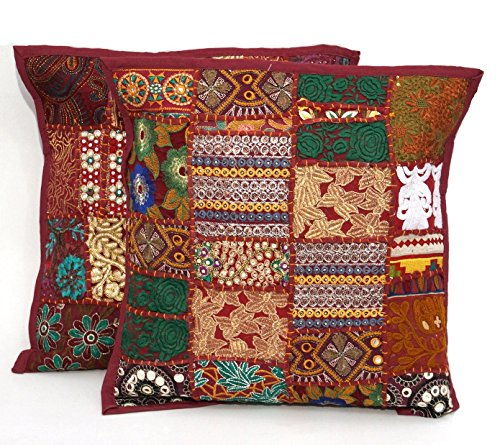 2pc Ethnic Sari Patchwork Pillow Cover  17x17 Embroidered Cushion  Red Indian Patchwork Cushion Pillow  Sari Patch Throw Pillow