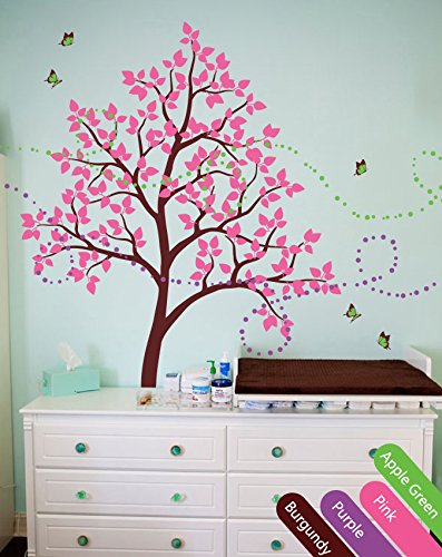 Baby nursery tree wall decals with butterflies and leaves Wall sticker KR026R