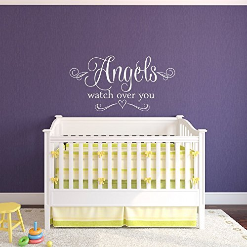 Angels Watch Over You Nursery Wall Decal Baby Girl Nursery Wall Decal Heart Wall Decal