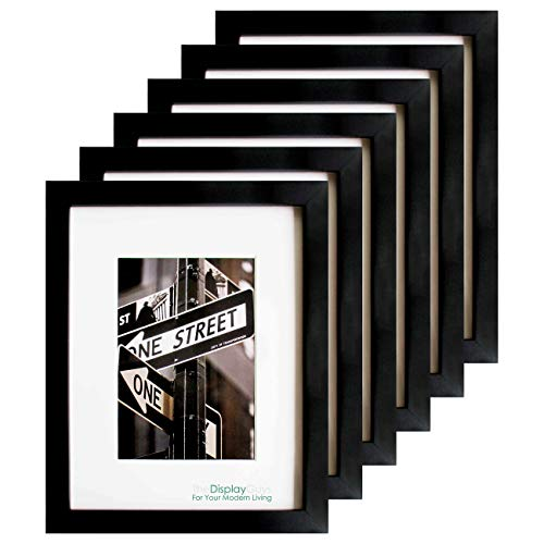 TheDisplayGuys 6-Pack Solid Pine Wood 6x8 Picture Frames w Tempered Glass matted to 5x7 Black - for Wall Hanging and Tabletop Easel Display Value Set