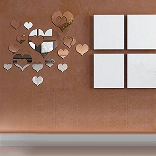 3D Wall Stickers16PCS Silver Mirror Hearts Decoration DIY Plastic wall stickers for bedroomliving room bathroomskitchen
