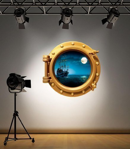 Full Colour Brass Porthole Pirate Ship Under Water Bathroom Kids Bedroom Wall Sticker Decal Sea Ocean Decoration