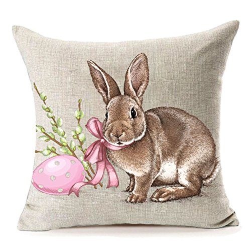MFGNEH Easter Rabbit with Egg Home Decor Pillow Covers Easter Bunny Engrave Illustration Vintage Graphic Cotton Linen Throw Pillow Case Cushion Covers 18x18