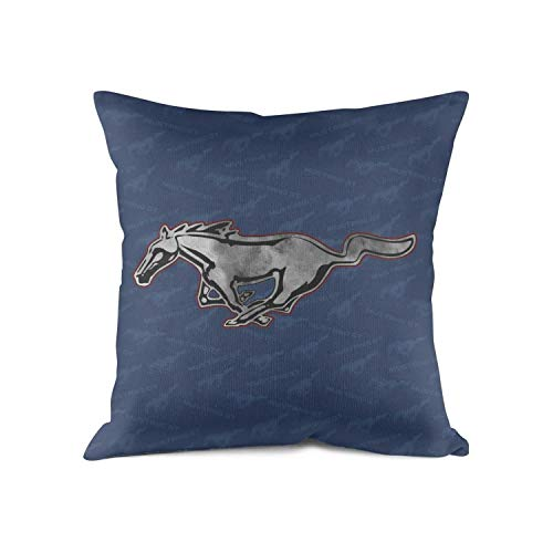 HYMANWASQHFT Throw Pillow Ford Mustang Distressed for Sale Logo Car Square Pillowcase Size 18 X 18 Inches Best Home Decor Design