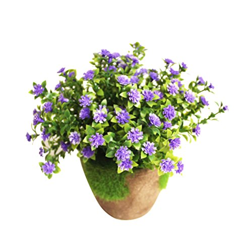 WINOMO Artificial Shrubs Plants Simulated Plant Decorative Bonsai Faux Plastic Flower for Home Wedding Decoration Blue