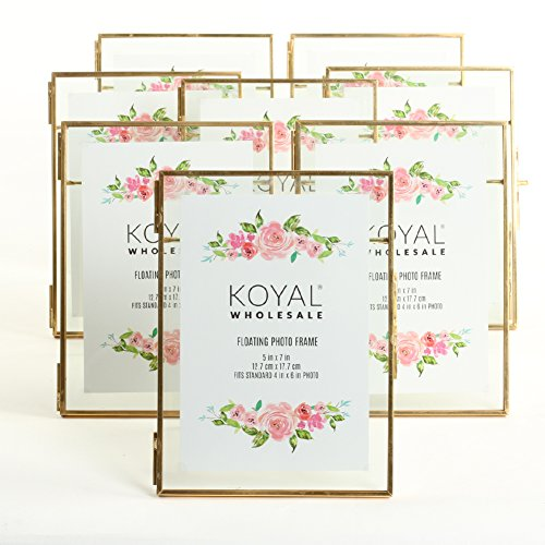 Koyal Wholesale 8-Pack Pressed Glass Floating Photo Frames 5 x 7 with Gold Stands for Horizontal or Vertical Pictures Table Numbers Place Cards