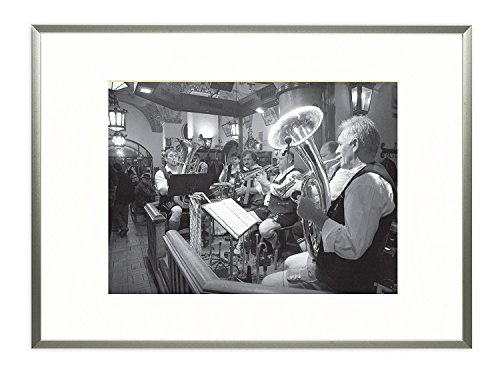 Frametory Metal Picture Frame Collection Aluminum Silver Photo Frame with Ivory Color Mat for Picture Real Glass 11x14