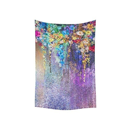 Nature Wall Art Home Decor Watercolor Flower Floral Design Colorful Tapestry Wall Hanging 40 X 60 Inches