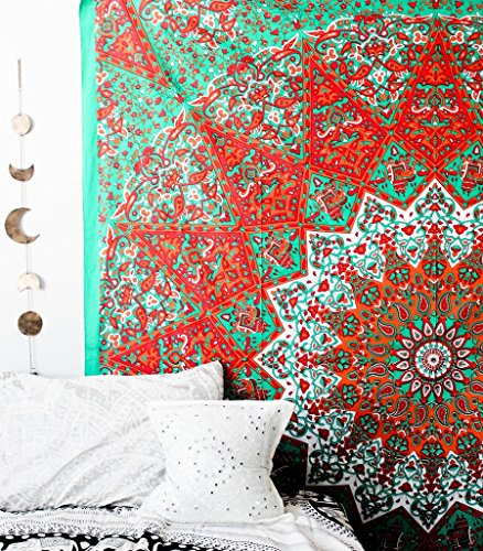 Popular tapestry large star Hippie Mandala Bohemian Psychedelic Intricate Floral Design Indian Bedspread Magical Thinking Tapestry 90x84 Inches230x215cms sea green By Popular Handicrafts