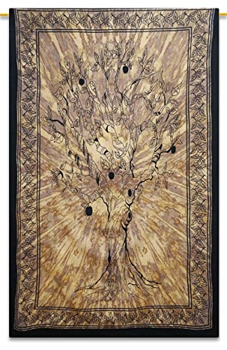 Tree Indian Hanging Cotton Wall Tapestry Twin Beige Bohemian Décor Throw 84 x 56 Inches