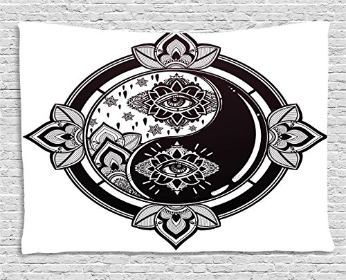 Yin Yang Tapestry by Ambesonne Mystical Third Eye and Floral Design Asian Arts Theme Ying Yang Sign Print Wall Hanging for Bedroom Living Room Dorm 80 W X 60 L Inches Black and White