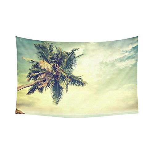 Seascape Wall Art Home Decor Vintage Tropical Beach Palms Tapestry Wall Hanging 60 X 90 Inches