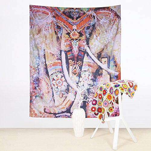Sleepwish Watercolor Elephant Tapestry Psychedelic Bohemian Tapestries Wall Hanging Decor Indian Home Hippie Bohemian Tapestry for Dorms Vertical 60 X 80 Inches