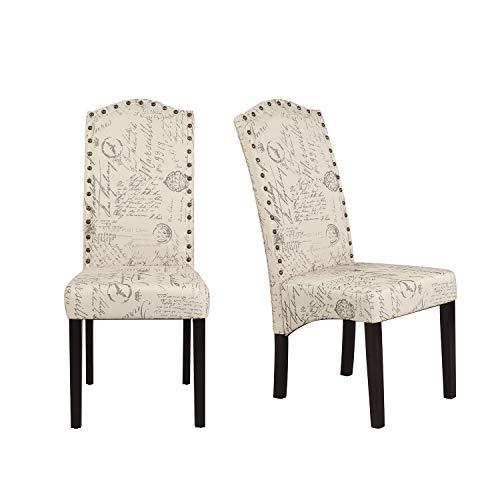 Merax Dining Script Fabric Accent Chair with Solid Wood Legs Set of 2